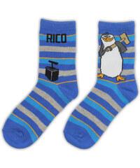 E plus M Chlapecké pruhované ponožky Tučňáci z Madagaskaru - modré