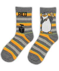 E plus M Chlapecké pruhované ponožky Tučňáci z Madagaskaru - šedé