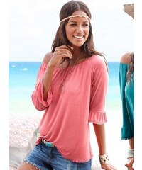 Lascana Damen Carmen-Shirt mit Häkelborte orange 32/34,36/38,40/42,44/46