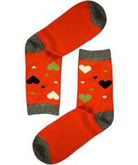 Aura.Via Veselé ponožky - barevná srdíčka 35-38 oranžová