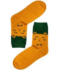 Aura.Via Veselé ponožky kočka tmavě žlutá 35-38