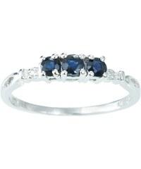 KLENOTA Stříbrný prsten se safíry