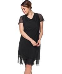 Große Größen: sheego Style Abendkleid mit Wasserfallkragen, schwarz, Gr.40-58