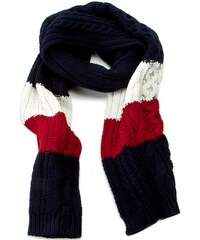 Schal TOMMY HILFIGER - Th Signature Knit Scarf AW0AW01512 Midnight/Winter White/Chilli Pepper 910