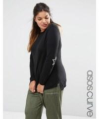ASOS CURVE - Pullover mit besticktem Ellbogenflicken im Sternform - Schwarz