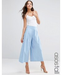 ASOS TALL - Jupe-culotte plissée sur le devant - Bleu