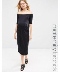 Bluebelle Maternity - Figurbetontes Kleid mit Bardot-Ausschnitt - Schwarz