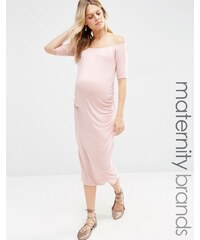 Bluebelle Maternity - Figurbetontes Kleid mit Bardot-Ausschnitt - Rosa