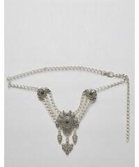 Retro Luxe London - Gürtel mit auffälligem Stein - Silber
