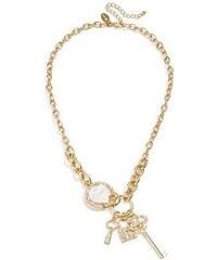 Guess Řetízek barva zlatá ENAMEL HEART & KEY LINK náhrdelník - barva zlatá - ton