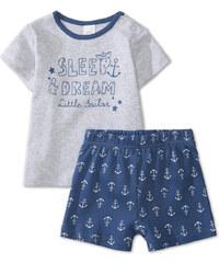 C&A Baby-Pyjama aus Bio-Baumwolle in Grau / Blau