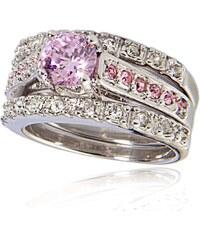 Bague à dames La Respectable - Bague ornée de zircons avec cristal - rose