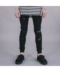 R.CLO Biker Denim Destroyer jet black