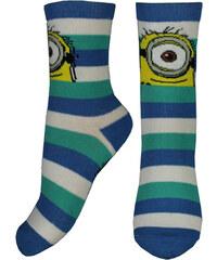 E plus M Chlapecké pruhované ponožky Mimoni - modro-bílé