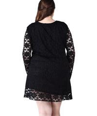 Lesara Kleid mit floraler Spitze - Schwarz - XL