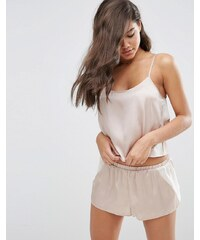 ASOS Chiffon Side Satin Cami & Short Pyjama Set - Beige
