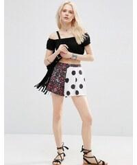 ASOS - Plissierter Jersey-Hosenrock mit Blumen- und Punktemuster - Mehrfarbig