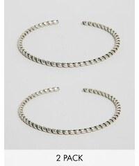 ASOS - Lot de deux bracelets de bras torsadés - Argenté
