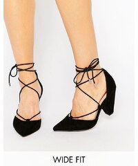ASOS - SINEAD - Chaussures pointure large avec talons et lacets - Noir