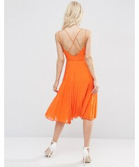 ASOS - Robe mi-longue à bretelles avec jupe plissée - Orange