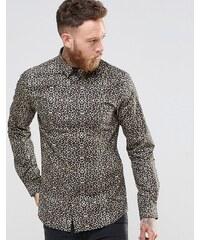 Noose & Monkey - Chemise cintrée à imprimé léopard - Doré