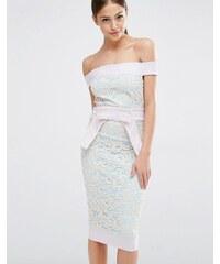 Vesper - Robe en dentelle style Bardot avec nœud à la taille - Multi