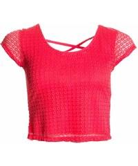 Glamorous by Glam Dámský crop top s volnými zády - lososová