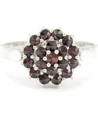 Granát, d.u.v., Turnov Český granát - prsten - stříbro 925/1000 - 120123450 56