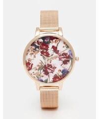 ASOS - Uhr mit geblümtem Zifferblatt und Netzarmband in Roségold - Mehrfarbig