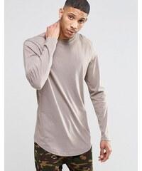 ASOS - T-shirt long à manches longues et ourlet incurvé - Beige - Marron