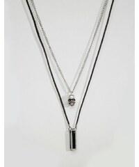 Icon Brand - Halskette mit Totenkopf und Anhänger im Set - Schwarz