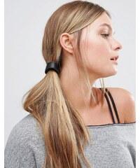 Kitsch - Élastique à cheveux avec bande en cuir végétal - Noir