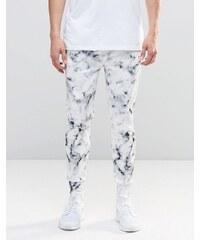 N1SQ - Pantalon de jogging en néoprène avec imprimé marbre - Blanc