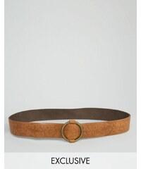 Retro Luxe London - Gürtel mit Ringschnalle und Prägung - Bronze
