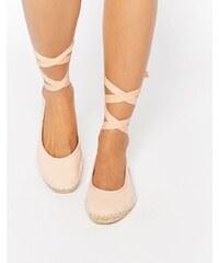 ASOS - JEMIMA - Espadrilles à lacets façon ballerines - Beige