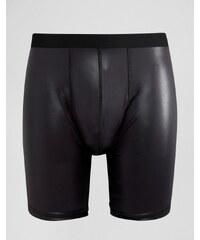 ASOS - Boxers longs en tissu effet mouillé - Noir