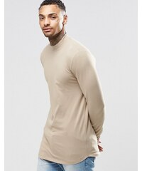 ASOS - T-shirt long moulant à manches longues avec col roulé et ourlet arrondi - Beige