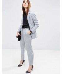 ASOS Premium - Pantalon ajusté imitation lin - Bleu