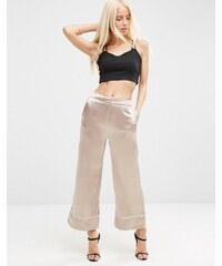 ASOS - Pantalon coupe large avec détails passepoilés - Beige