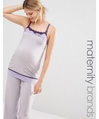 Cake Lingerie Cake Sugar Plum - Schlafanzugoberteil mit Trägern für Schwangerschaft und Stillzeit - Grau