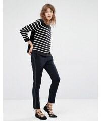 Suncoo - Jane - Zigaretten-Hose mit Smoking-Streifen - Marineblau