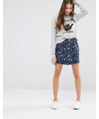YMC - Jupe en jean boutonnée à imprimé étoiles - Bleu marine