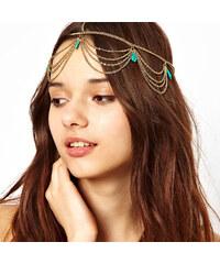 Lesara Haarkette mit türkisfarbenen Steinen