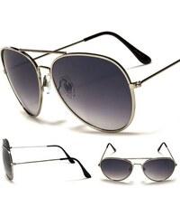 LengTon Sluneční brýle Aviator stříbrný rám kouřové sklo