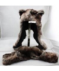 Plyšová čepice Funky Animal - Hnědý Vlk
