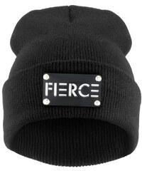 Cixi Černá čepice Beanie s plackou s nápisem FERCE