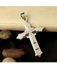 Impress Jewelry Přívěsek z chirurgické oceli kříž se zirkony