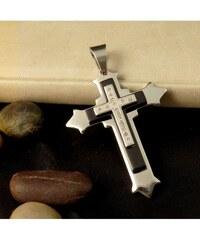 Impress Jewelry Přívěsek z chirurgické oceli - kříž se zirkony - Stříbrno - černý