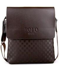 POLO VIDENG Travel pánská kožená taška hnědá