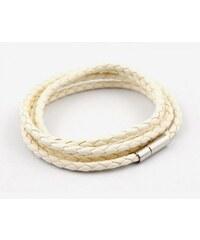 Lodestar Kožený pletený náramek - bílý